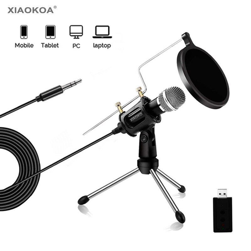 Micrófono de grabación de condensador para ordenador portátil Mac o Windows Studio, micrófonos para Iphone Android, micrófono de grabación Xiaokoa