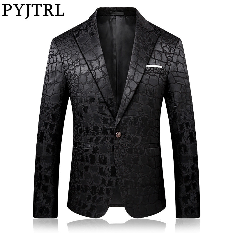 PYJTRL Trend Male Quality Fashion Casual Jacquard Blazers Blazer Men Veste Costume Homme