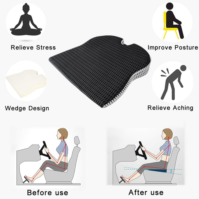 Car Wedge Seat Cushion for Car Driver Seat Office Chair Wheelchairs Memory Foam Seat Cushion-Orthope