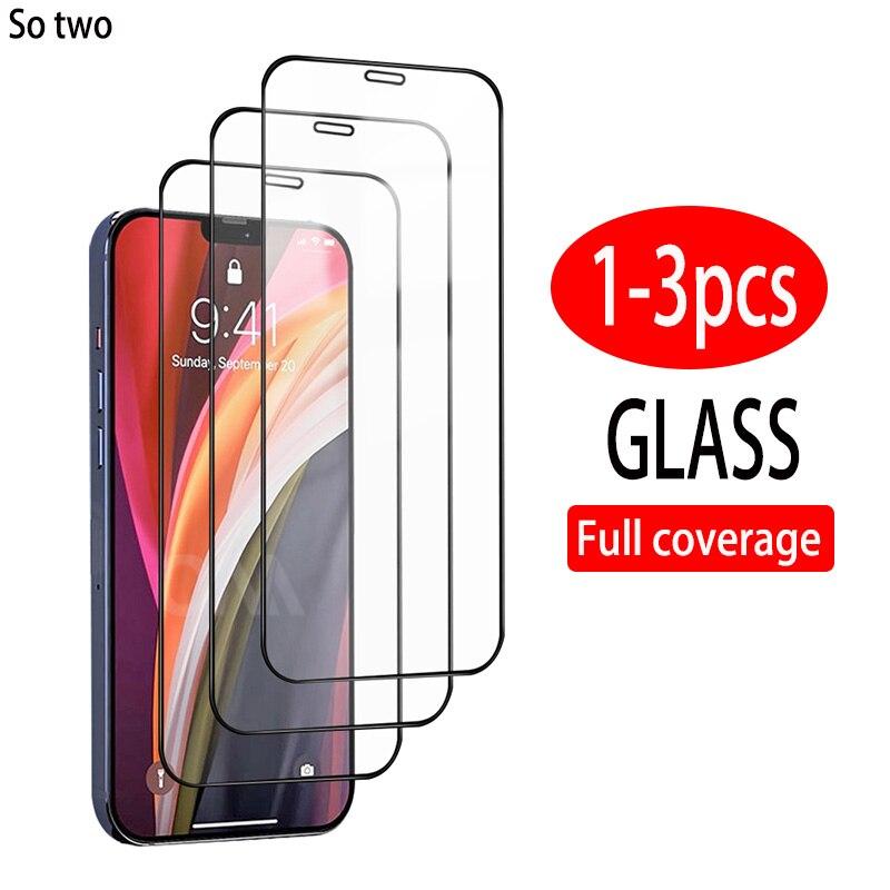 3 pièces couverture complète verre trempé de protection sur pour iPhone 12 11 Pro X XR XS MAX protecteur d'écran pour iPhone 6 6s 7 8 plus film