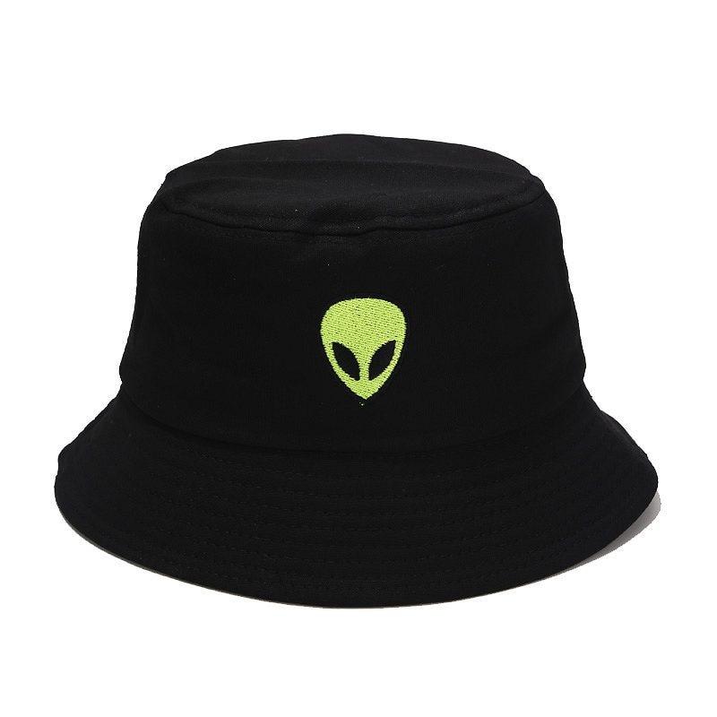 Bordado Aliens sombrero con forma de cubo para mujer hombres algodón plegable playa sombrero de pesca sombrero de sol Bob verano al aire libre pescador sombrero Hip Hop gorras