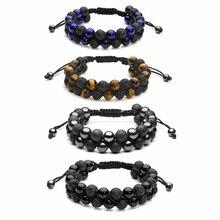 Natural Stone Bracelet Mens Black Lava Rock Bracelet Tiger Eye Bracelet Braided Rope Yoga Essential