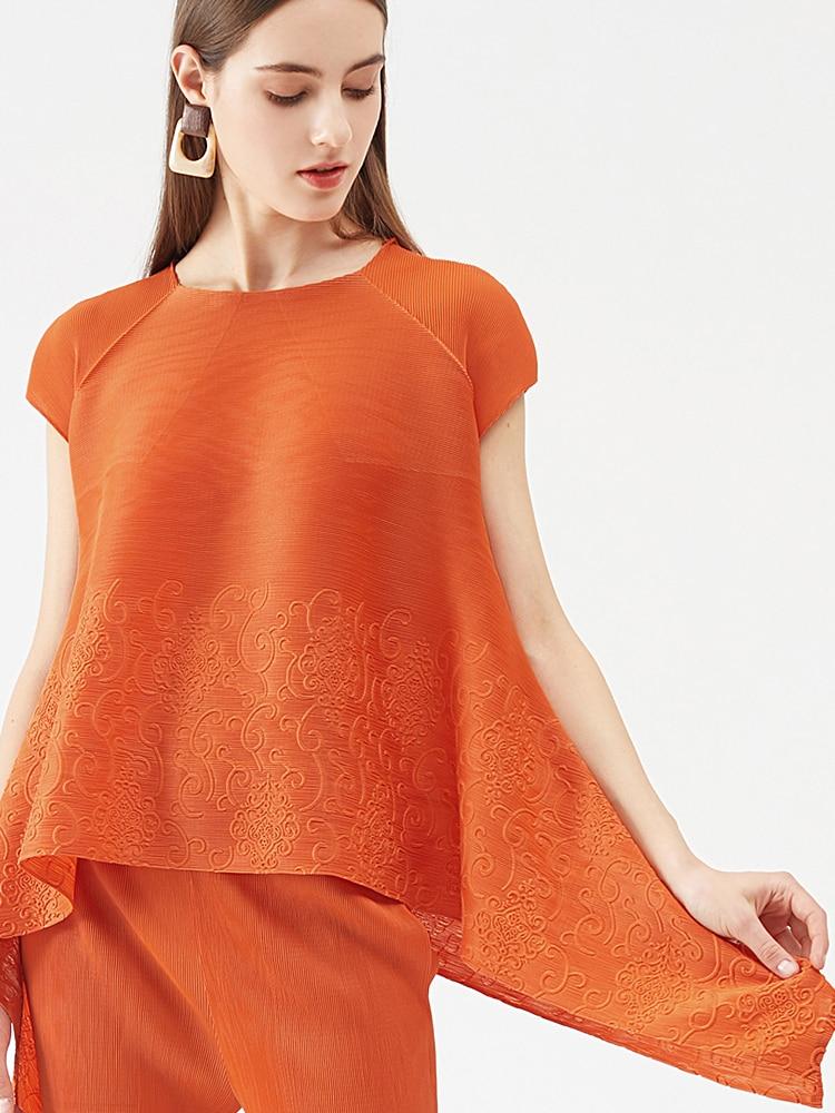 Женский винтажный брючный костюм миаке, комплект из двух предметов с плиссированной вышивкой и укороченным топом