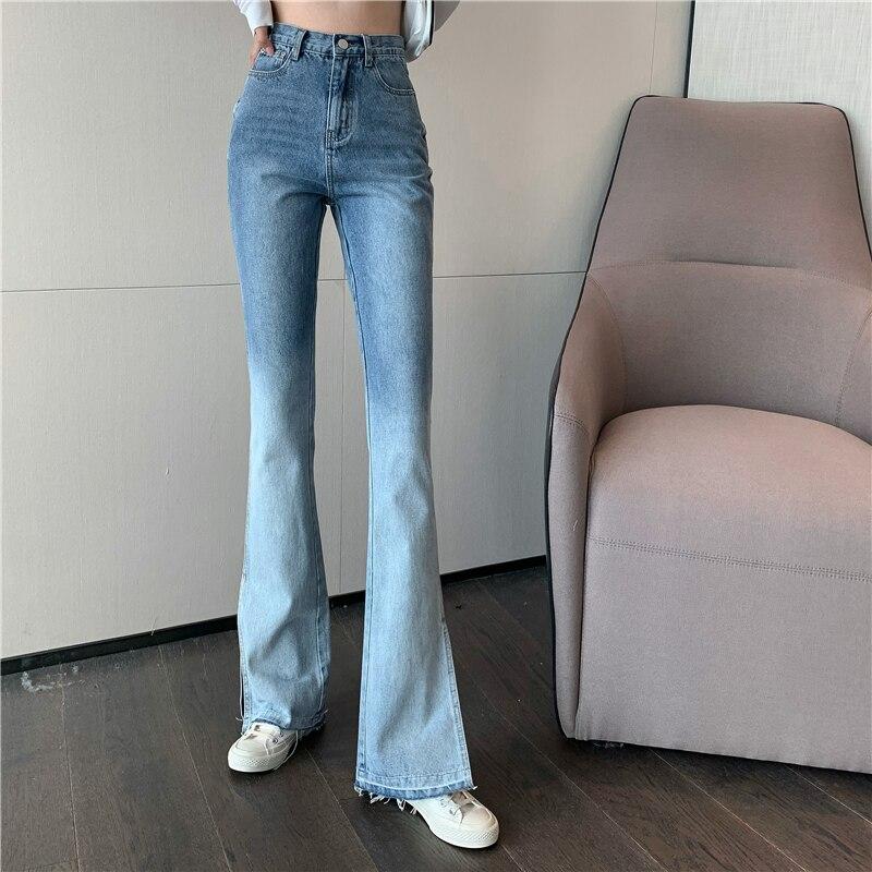 Calças de brim de cintura alta perna larga split jeans feminino denim vintage gradiente azul streetwear calças de perna reta para meninas finas