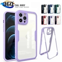 360 full protection case for iphone 13 12mini 11 pro max xr x xs max 7 8 plus se 2020 shockproof bumper silicone case soft cover