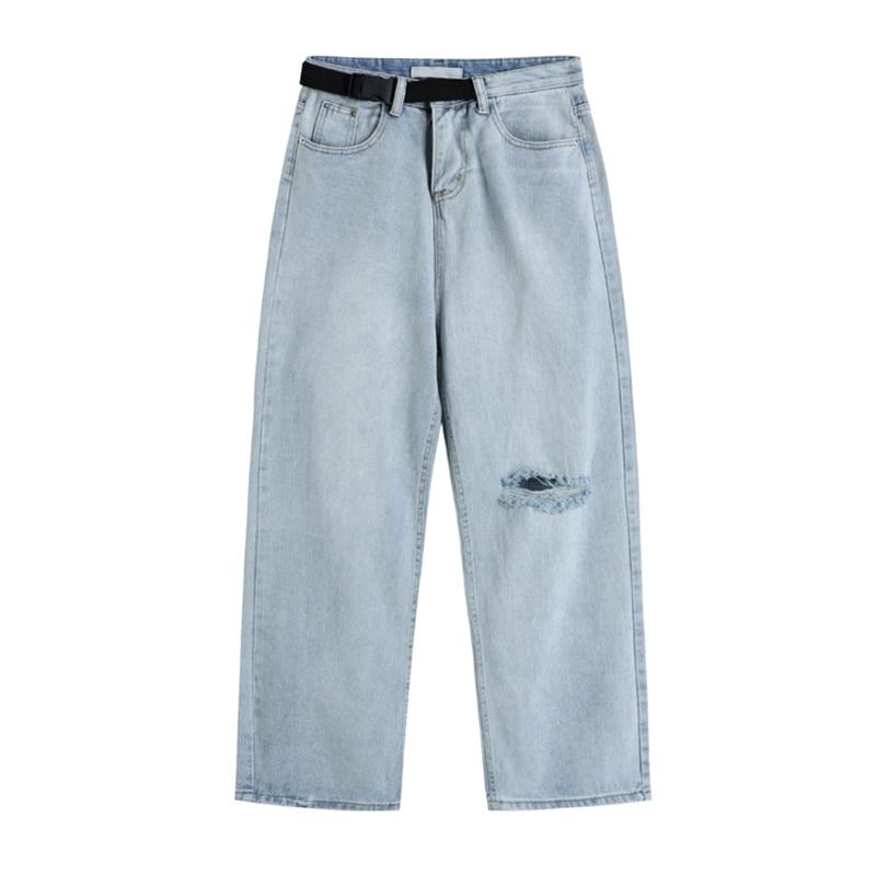 Woman Jeans High Waist Clothes Wide Leg ripped Denim Clothing Blue Streetwear Vintage Quality 2021 Fashion Cowboy Pants