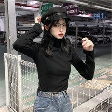 Spring and Autumn Shirt Women Long Sleeve Versatile Black (New Products) Coltsfoot 2021 Inner Wear B