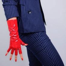 """Metade do dedo látex longo luvas de couro falso fingerless grande vermelho cosplay 28cm 11 """"luvas de couro feminino WPU220-1"""