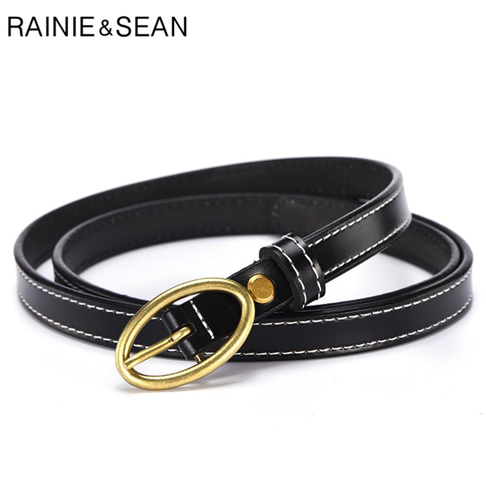 RAINIE SEAN Real Leather Women Belt Pin Buckle Waist for Trousers Cowskin Genuine Black Ladies Strap Accessories