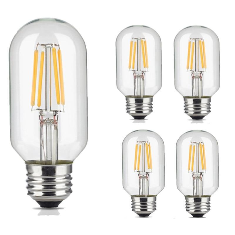 10pcs COB Filament Light T45 4W E27 360lm Edison Vintage Retro Tube LED Filament Bulb Warm Cool White Color for Lighting Decora