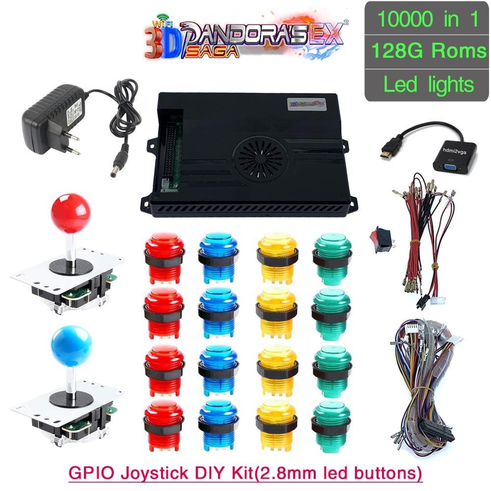3D Pandora Saga EX 10000 in 1 DIY Kit Game Board 8 Way Joystick Led Lights Push Button Arcade Box Cabinet for 2 Playes