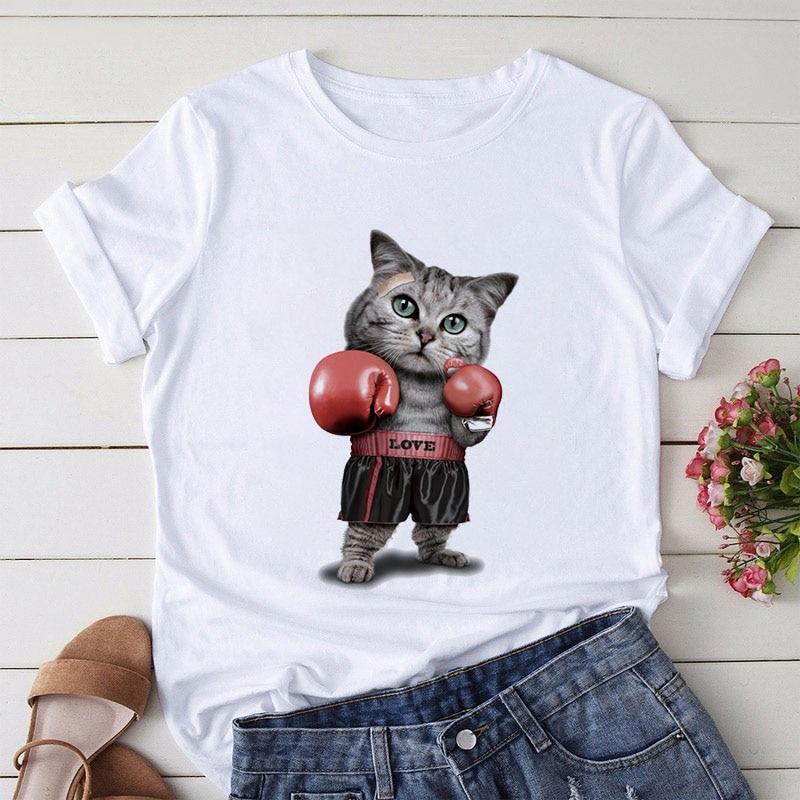 Camiseta de impressão engraçada do gato do boxe das mulheres da camiseta do gráfico do harajuku do verão