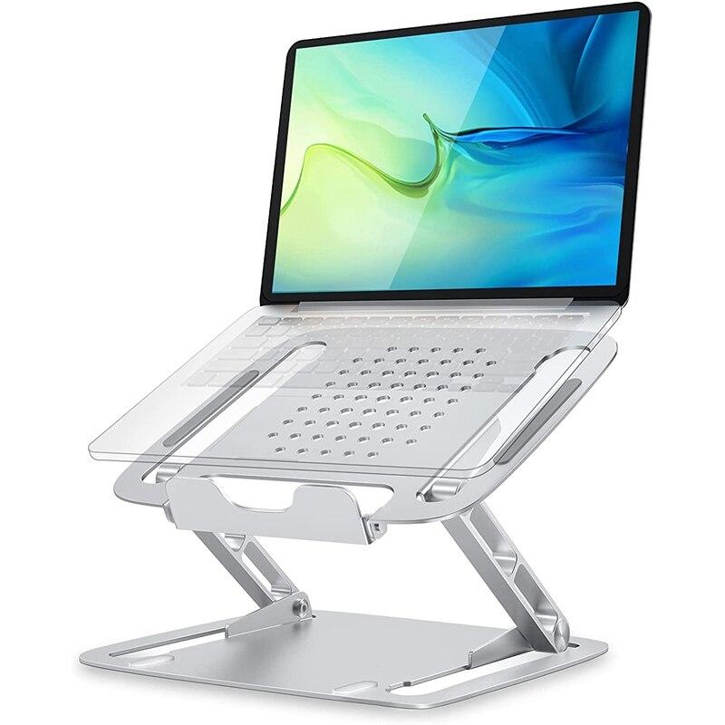 حامل كمبيوتر محمول للمكتب ، موقف الكمبيوتر المحمول مريح ، حامل تبريد الكمبيوتر قابل للتعديل لجميع أجهزة الكمبيوتر المحمولة ، والفضة