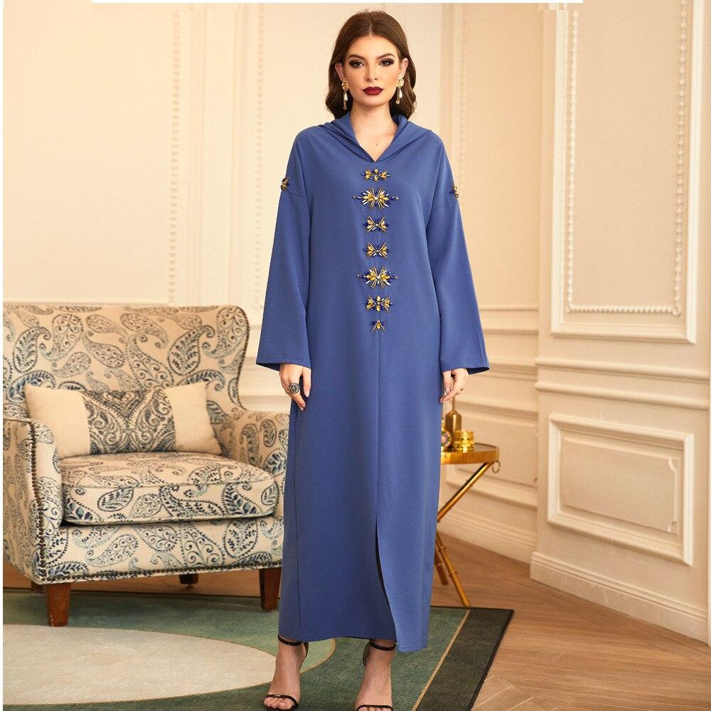 الماس الخرز مسلم عباية دبي مسلم الحجاب فستان قفطان الإسلام ملابس نسائية Vestidos رداء طويل فام F2670