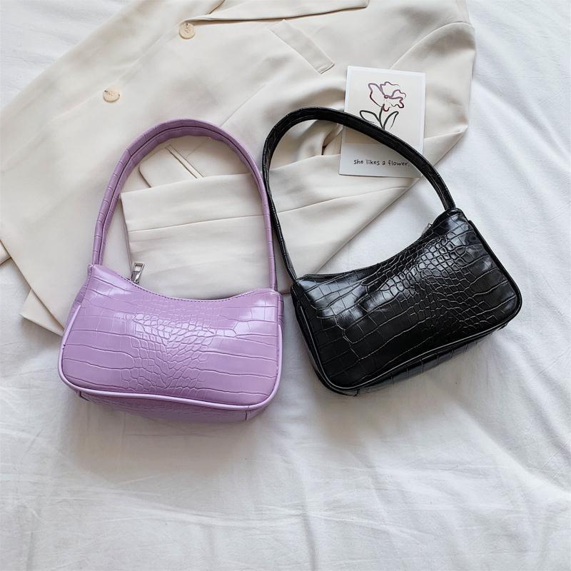 fashion design ladies baguette purse handbags crocodile pattern pu leather women small shoulder bags vintage female underarm bag Retro Soft PU Leather Ladies Small Shoulder Bags Fashion Crocodile Pattern Women Baguette Purse Handbags Girls Mini Armpit Bag