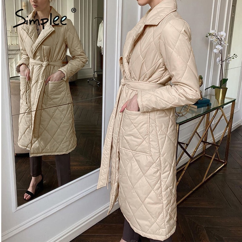 Simplee Long straight winter coat with rhombus pattern Casual sashes women parkas Deep pockets tailo