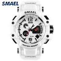 Мужские водонепроницаемые кварцевые часы SMAEL, белые спортивные светодиодный светодиодные цифровые военные наручные часы S Shock, 1509