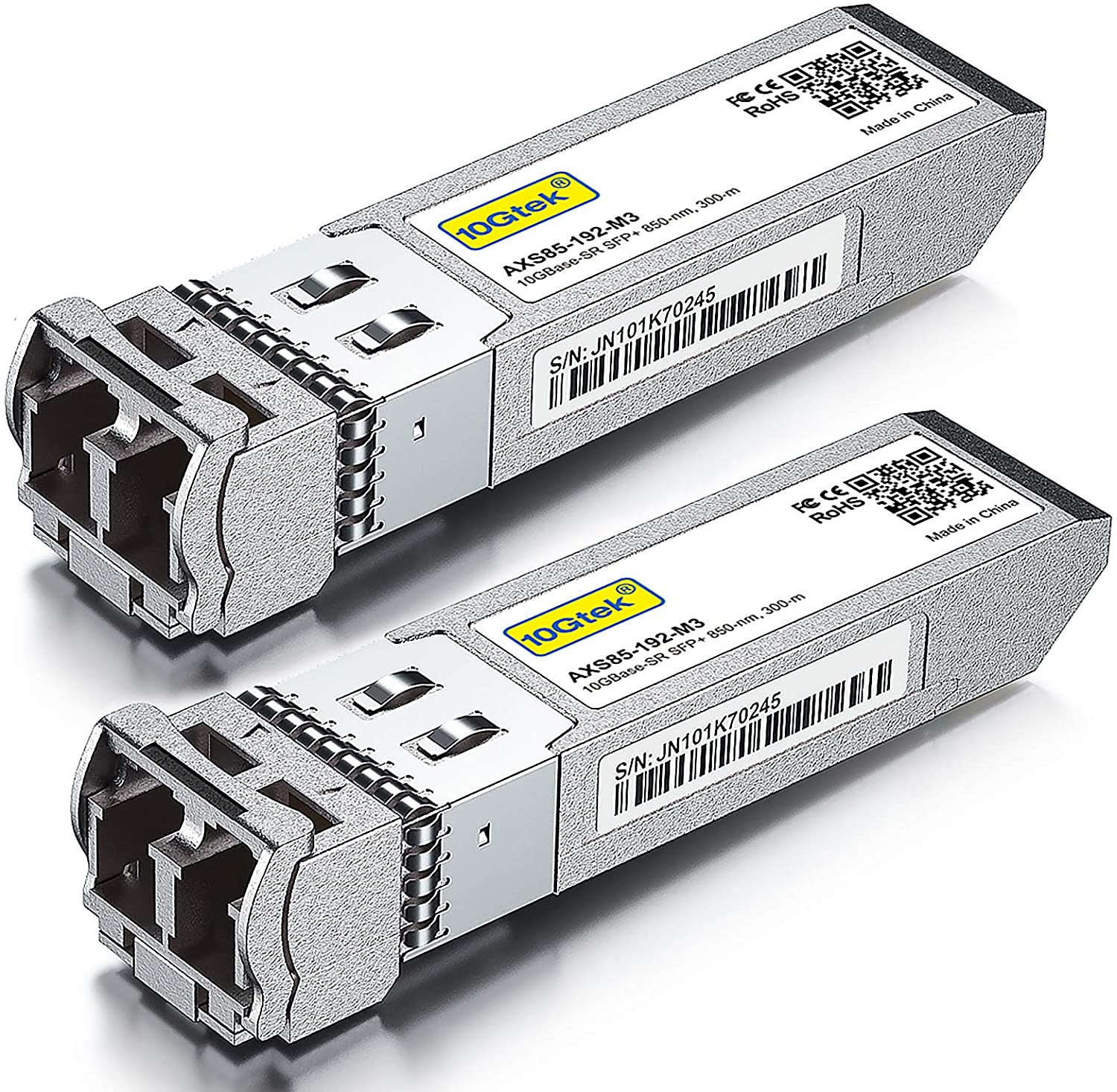 10GBase-SR SFP+ Transceiver, 10G 850nm MMF, up to 300 Meters, Compatible with Cisco SFP-10G-SR,Pack of 2