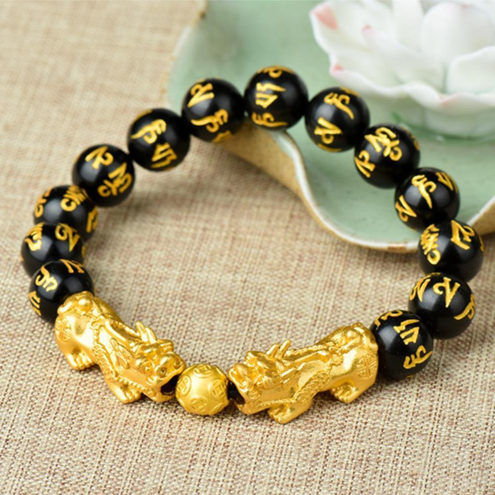 Feng shui sorte saúde rico amuleto obsidian charme masculino riqueza grânulos golded pulseira buda pixiu para mulher t3g3