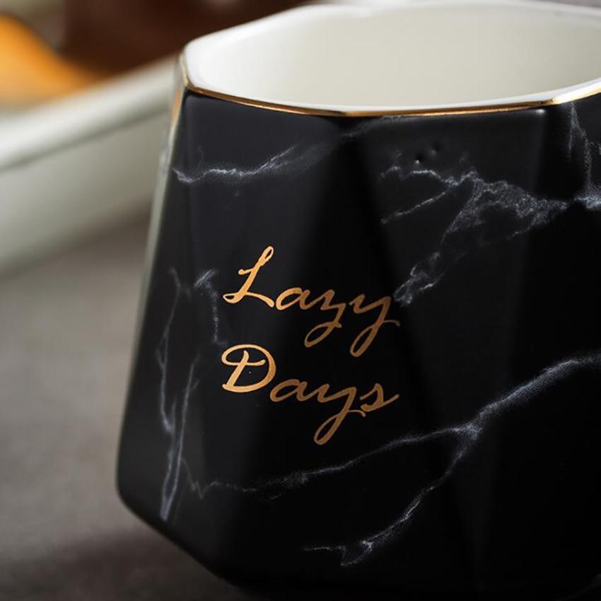 Купить с кэшбэком Diamond Marble Ceramic Coffee Mug 430ml Beautiful Gold Trim Tea Mugs Milk Drinking Cup for Home Office Coffee Mug Gifts