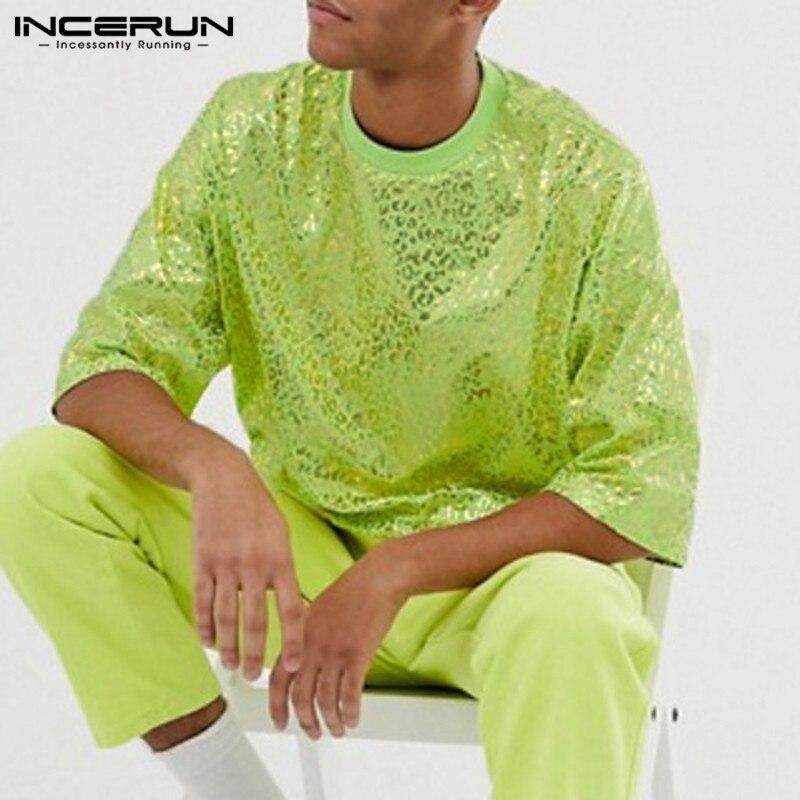INCERUN 2020 de moda Camiseta para hombre, de la marca O cuello estampado brillante camisetas calle media manga Casual de los hombres camisetas, Camiseta S-5XL
