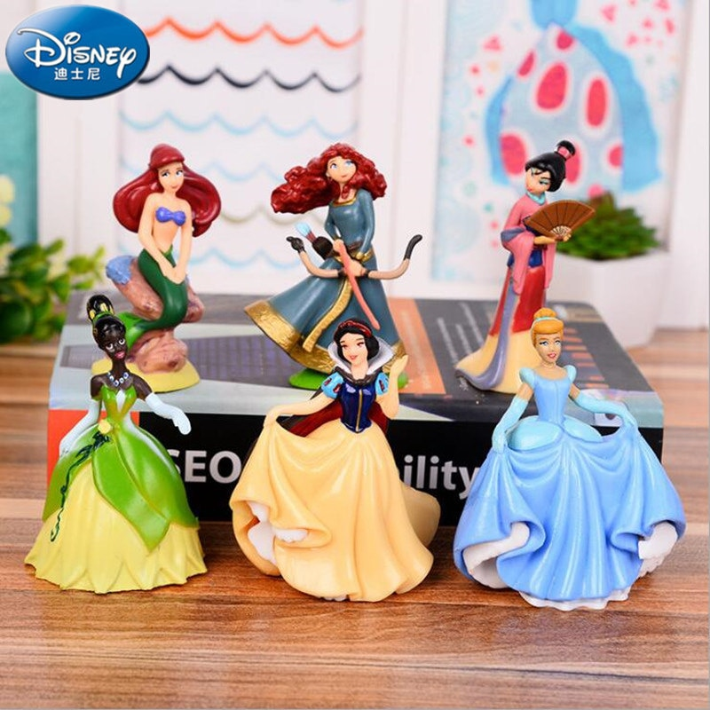 Disney 6PCS Dream fairy tale Princess Snow White Princess Bell Cinderella Mermaid Princess Mermaid Cartoon Dolls Toy Girls gift