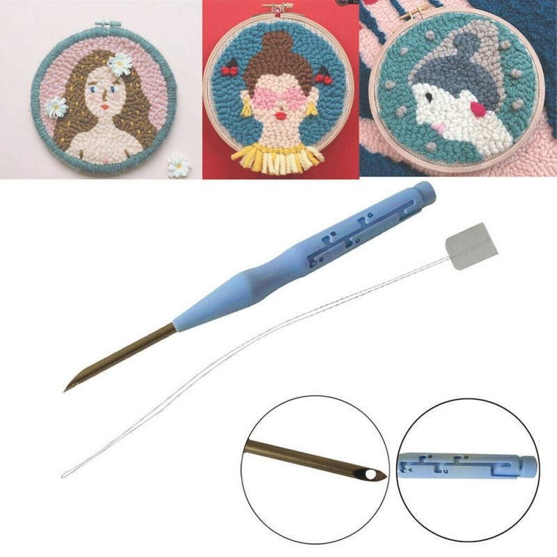 Punzón de costura de 160mm aguja de bordado agujas de costura práctica enhebradora guía DIY herramienta artesanal para tejer alfombra hilo muñeca