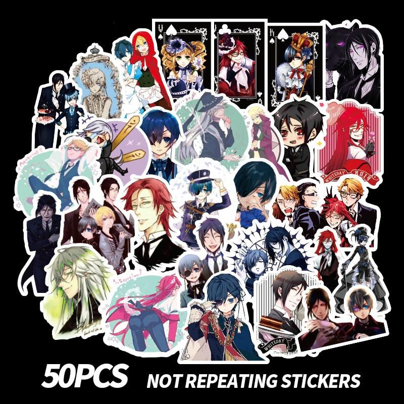 50 piezas Anime negro Butler etiqueta para guitarra maleta nevera portátil cartel pegatinas impermeable juguete Skateboard etiqueta engomada