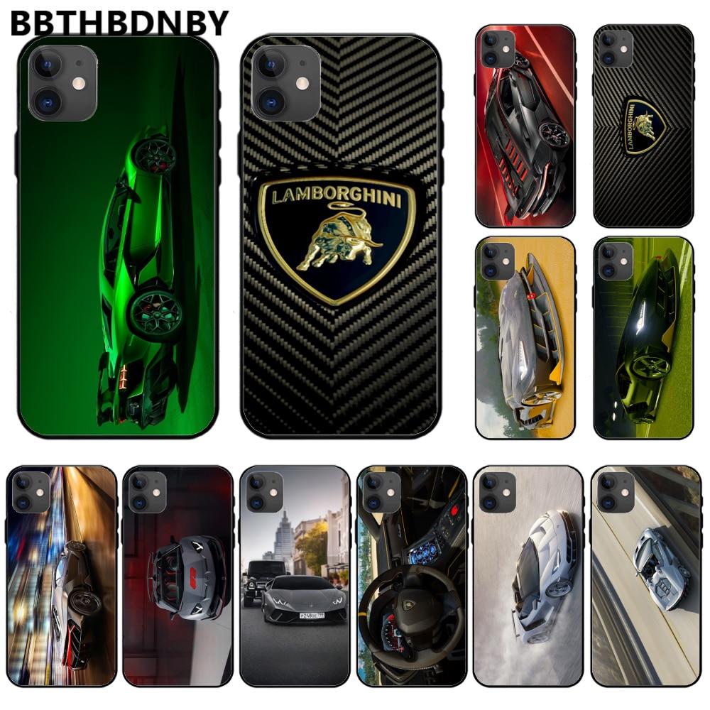 Para iphone 11 DE LUJO Super correr Lamborghini TPU negro cubierta de la caja del teléfono del casco para iphone 11 pro max x xs x xr 7 7 plus 6 6s 5 5 5s 5se