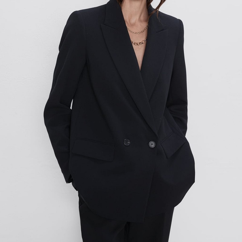 المرأة سترة دعوى معطف الإناث فضفاضة عادية مزدوجة الصدر طويلة الأكمام مكتب السيدات أبلى Vintage بلون الكورية