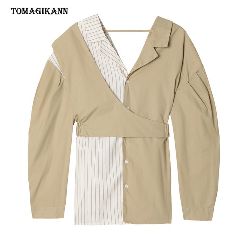 بلوزة مرقعة مخططة للمرأة قميص غير متماثل بأكمام طويلة مكشوف الظهر ملابس علوية للسيدات غير رسمية