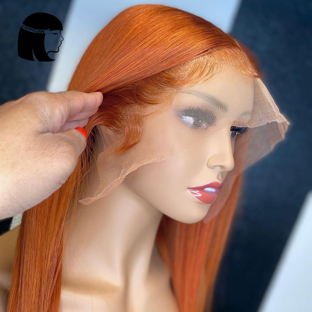 Ginger Orange 13X4 Lace Front Human Hair Wigs With Baby Hair Brazilian Straight 4x4 Closure Lace Wig