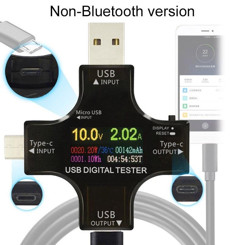 شاشة ملونة تستر USB الجهد والتيار متر نوع-C PD تستر السلطة متر بلوتوث الاتصالات نسخة السلطة متر
