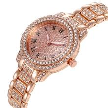 Fashion Casual Steel Strap Rhinestone Alloy Watch Newest Ladies Starry Quartz Wristwatch Cheap Promo