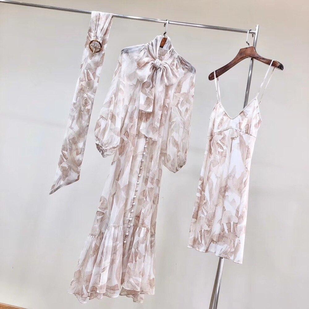 100% Silk Womens 2020 Spring New Flower Print Lacing V Collar Puff Sleeve Long Dress