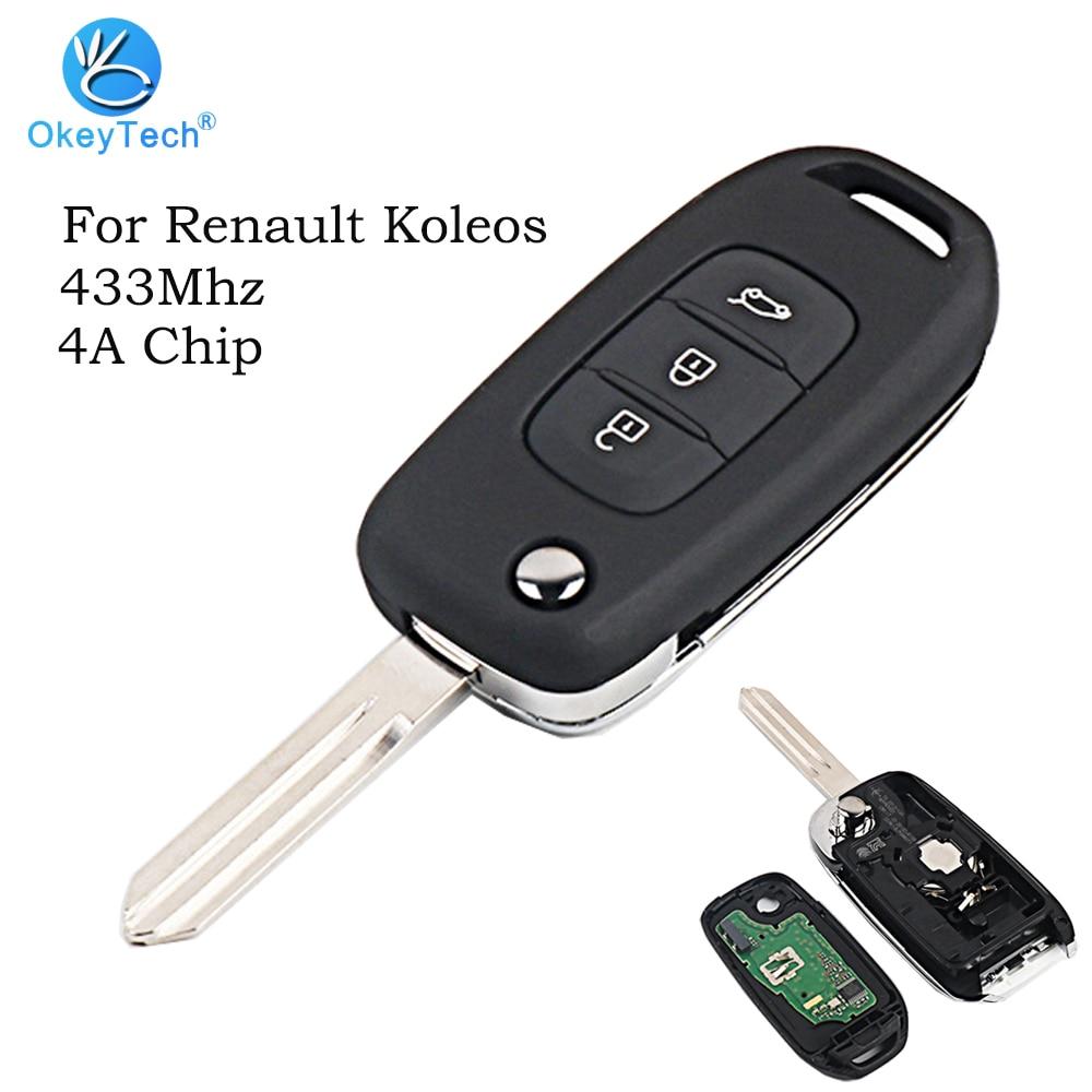 OkeyTech Remote Flip Folding Auto Car Key for Renault Koleos New Arrival 3 Button 433Mhz 4A Transponder Chip Uncut Blade Blade