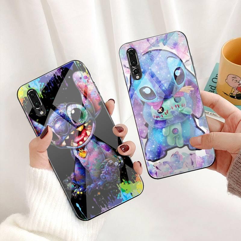 Funda del teléfono de Stitch de dibujos animados, carcasa de cristal templado para Huawei P30, P20, P10 lite, honor 7A, 8X, 9, 10, mate 20 Pro
