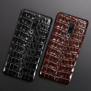 Genuine Leather Phone Case For Meizu 16th Plus 16 16X 17 Pro 7 Plus X8 Cases Luruxy  Cowhide Crocodile Tail Texture Back Cover