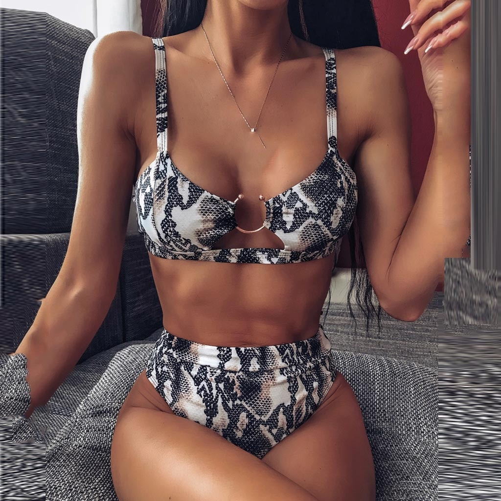 Sexy Leopard Printed Bikini Printing Swimwear Push Up Surfing Summer Swimsuit Women Buckle Push-Up Padded Set