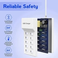 10 port fast usb charging port power strip adapter wall travel desktop charger for mobile phone tablet multi charging station