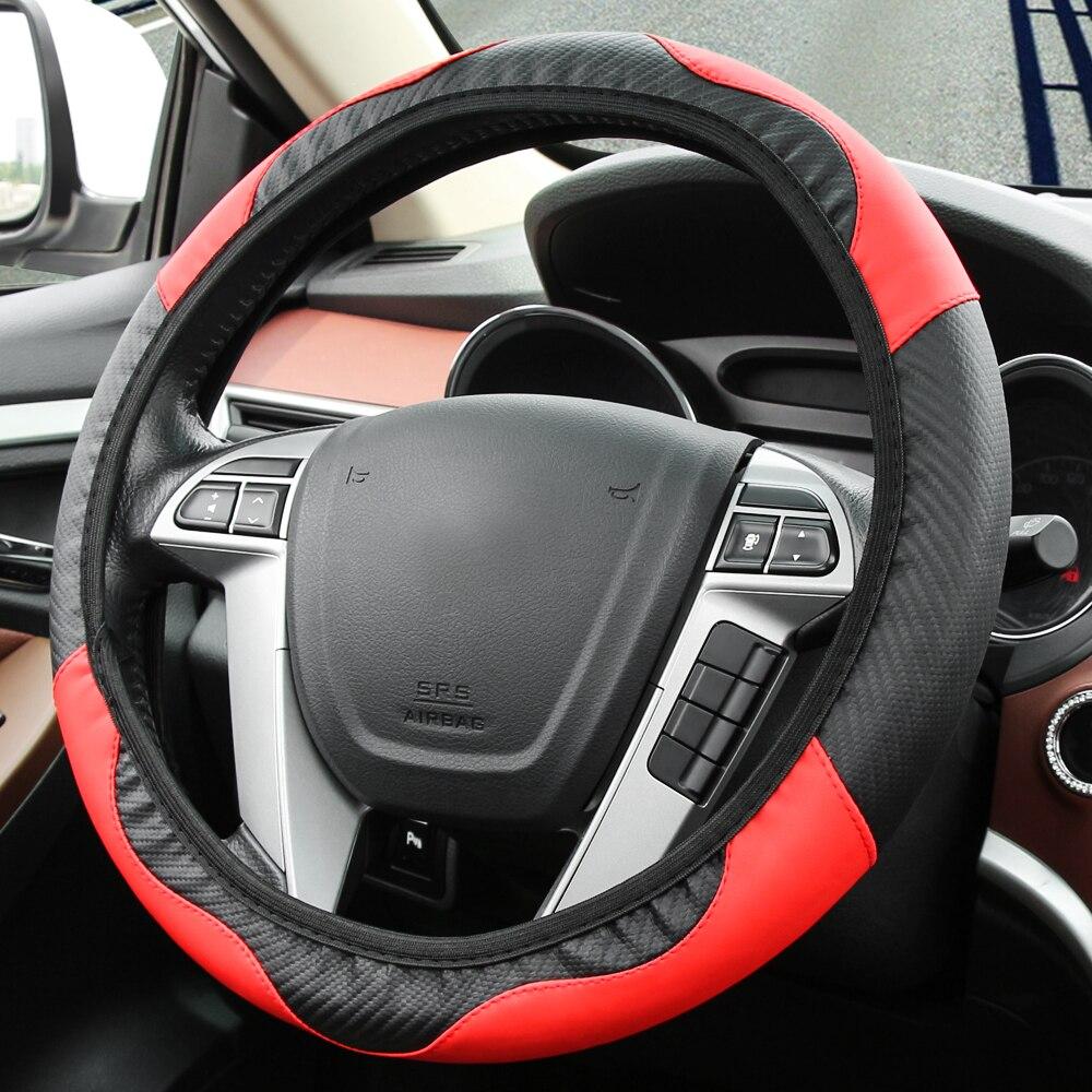 Protector para volante de coche de la PU de carbono estilo de fibra para en jeep wrangler jk brújula dodge journey ram 1500 para chrysler 300c