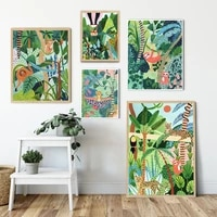tiger monkey leopard jungle botanical posters prints wall art canvas painting nordic safari pictures for living room home decor