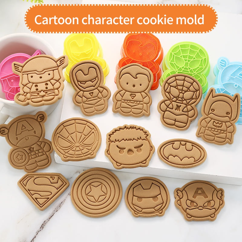 Baking Cookie Cutter 3d Super Hero Green Giant Spider Fondant Biscuit Plastic Pressing Mold Stamp Pastry Tools