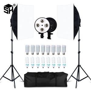 Комплект софтбоксов для фотостудии, 8 светодиодов, 20 Вт, 2 штатива