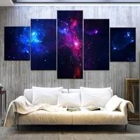 Affiche dart mural moderne avec 5 panneaux Hd imprimes  violet  galaxie  ciel etoile  espace  peinture sur toile imprimee pour decoration de maison et de salon