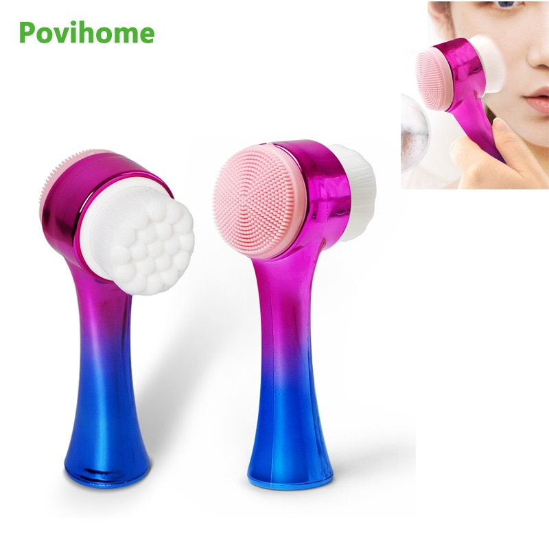 New Double-Sided Silicone Skin Care Tool Facial Cleanser Brush Face Cleaning Fine Fiber Facial Massa
