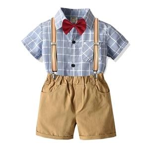 Kids Boy Clothes Toddler Infant Baby Summer Suit  Fashion  Plaid Shirt+Khaki Shorts Children Clothing Set