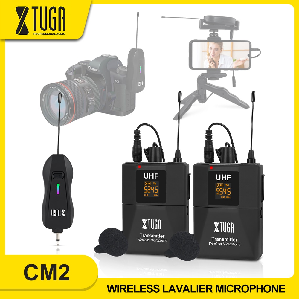 XTUGA Wireless Lavalier Microphone Camera Mic with Mini Rechargeable Receiver for Phones SLR Cameras Interview Live Recording xtuga wireless lavalier microphone professional uhf camera microphone with 30 selectable channels for slr camera dv camcorder