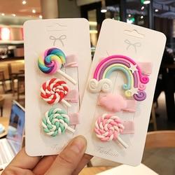 Novo bonito das crianças hairpin doce arco-íris lollipop cor franja clipe bb clip dos desenhos animados grampo de cabelo acessórios para o cabelo