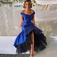 booma royal blue mermaid prom dresses off the shoulder taffeta hi lo evening dresses tea length trumpet formal party dresses